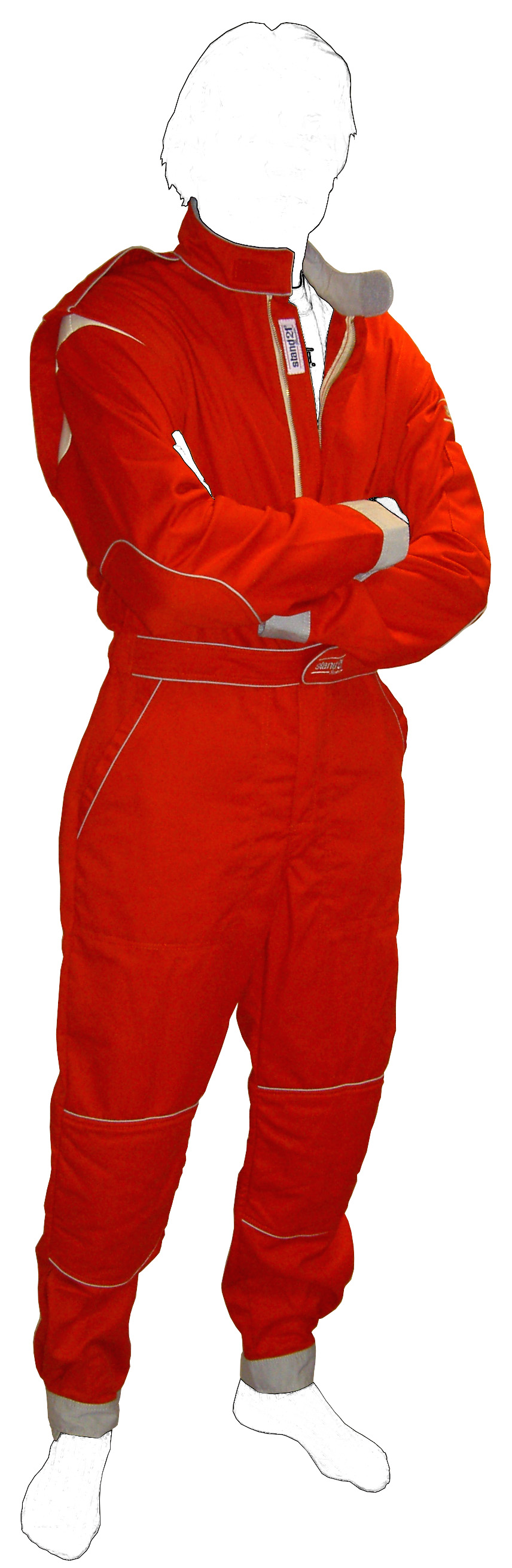Stock red with grey piping K09 go-kart suit