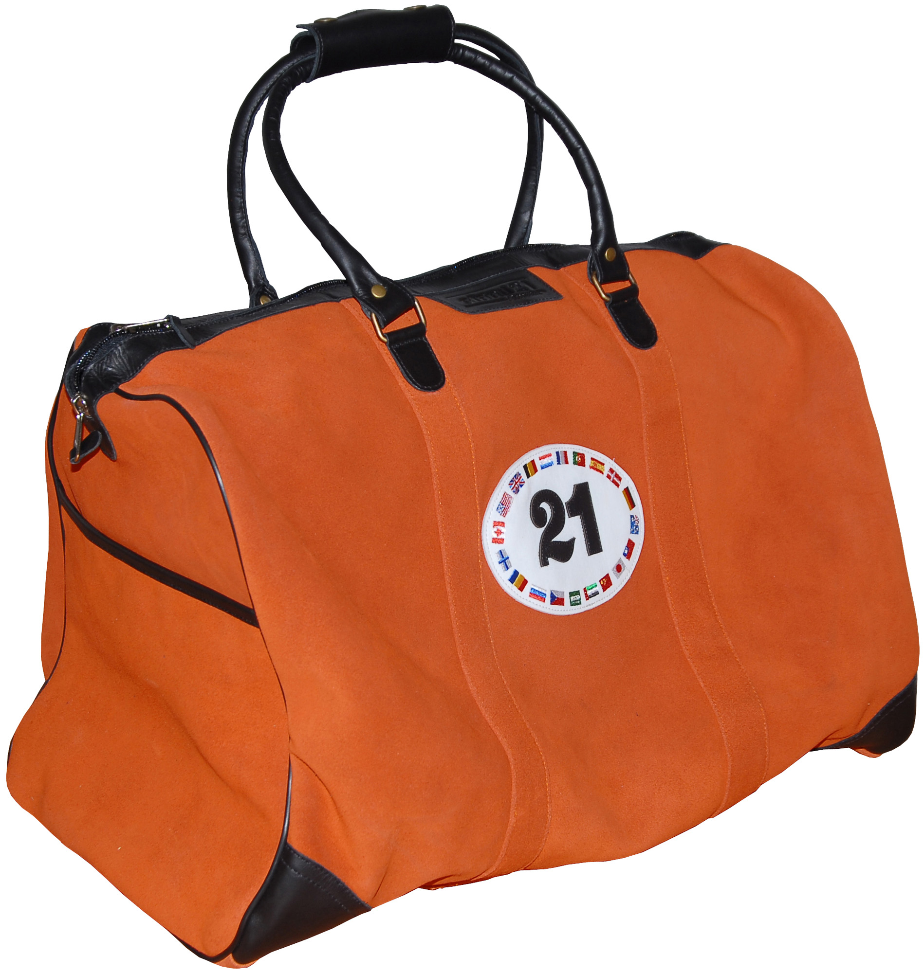 Orange leather travel bag